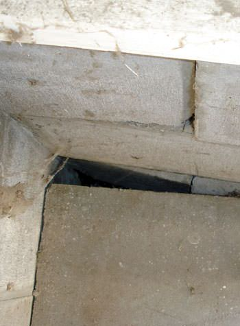 inward rotation of a foundation wall damaged by street creep in a garage in Red Lodge