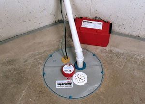 A sump pump system with a battery backup system installed in Deer Lodge