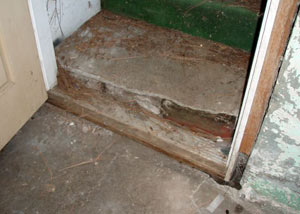 A flooded basement in Deer Lodge where water entered through the hatchway door