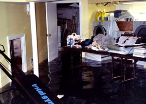 A laundry room flood in Columbus, with several feet of water flooded in.