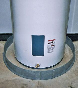 An old water heater in Lewistown, MT and WY with flood protection installed